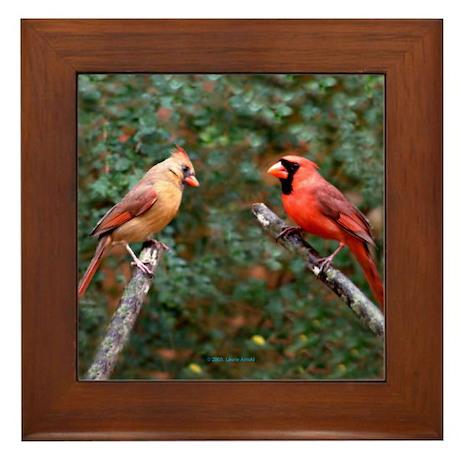 Two Cardinals Framed Tile