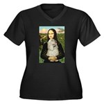 Mona Lisa /Cocker Spaniel Women's Plus Size V-Neck