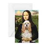 Mona Lisa / Cocker Spaniel Greeting Cards (Pk of 2