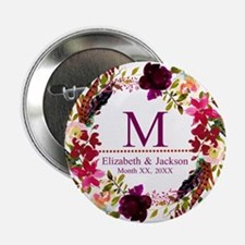 "Boho Wreath Wedding Monogram 2.25"" Button (10 pack"