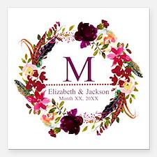 """Boho Wreath Wedding Monogram Square Car Magnet 3"""""""