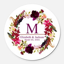 Boho Wreath Wedding Monogram Round Car Magnet