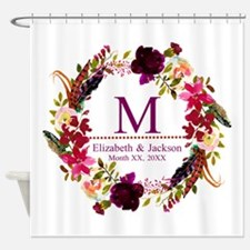 Boho Wreath Wedding Monogram Shower Curtain