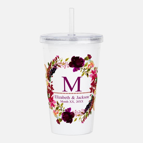 Boho Wreath Wedding Monogram Acrylic Double-wall T