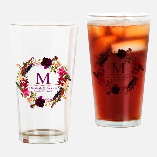 Boho Wreath Wedding Monogram Drinking Glass