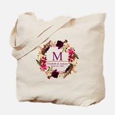 Boho Wreath Wedding Monogram Tote Bag