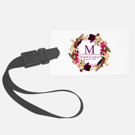 Boho Wreath Wedding Monogram Luggage Tag
