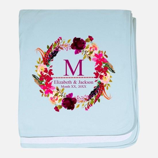 Boho Wreath Wedding Monogram baby blanket