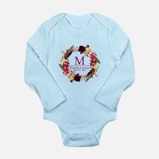 Boho Wreath Wedding Monogram Body Suit