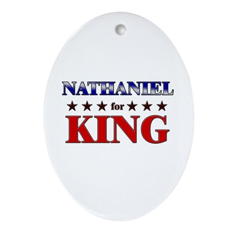 NATHANIEL for king Oval Ornament