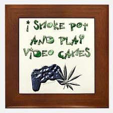 """I Smoke Pot and Play Video G Framed Tile"