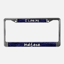 Funky Love Maltese License Plate Frame