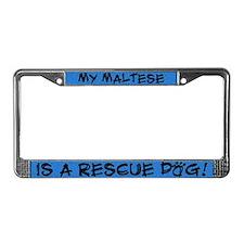 Rescue Dog Maltese License Plate Frame