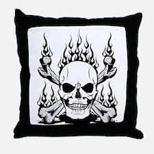 Skull Flames Throw Pillow