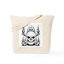 Skull Flames Tote Bag