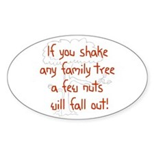 Shaking Family Tree (Red) Oval Bumper Stickers