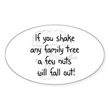 Shaking Family Tree (Black) Oval Bumper Stickers