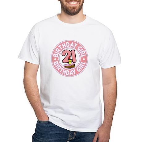 Birthday Girl #21 White T-Shirt