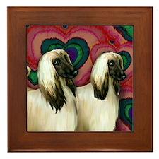 AFGHAN HOUND DOGS VALENTINE LOVE Framed Tile
