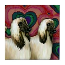 AFGHAN HOUND DOGS VALENTINE LOVE Tile Coaster