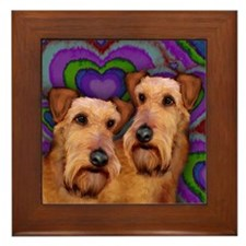 IRISH TERRIER DOGS VALENTINE LOVE Framed Tile