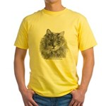 TG, Long-Haired Gray Cat Yellow T-Shirt