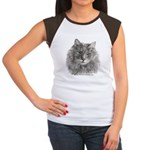 TG, Long-Haired Gray Cat Women's Cap Sleeve T-Shir