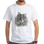 TG, Long-Haired Gray Cat White T-Shirt