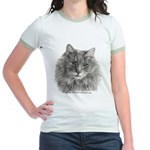 TG, Long-Haired Gray Cat Jr. Ringer T-Shirt
