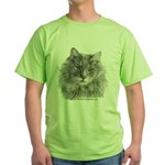 TG, Long-Haired Gray Cat Green T-Shirt