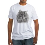 TG, Long-Haired Gray Cat Fitted T-Shirt