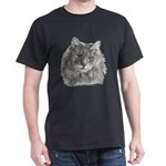 TG, Long-Haired Gray Cat Dark T-Shirt