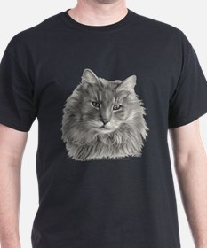 TG, Long-Haired Gray Cat T-Shirt