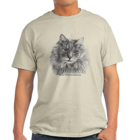 TG, Long-Haired Gray Cat Light T-Shirt