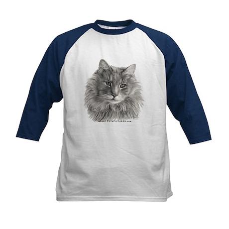TG, Long-Haired Gray Cat Kids Baseball Jersey