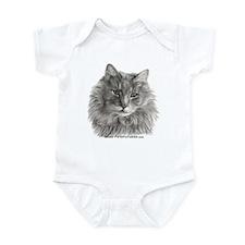 TG, Long-Haired Gray Cat Infant Bodysuit