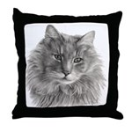 TG, Long-Haired Gray Cat Throw Pillow