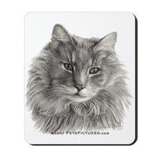 TG, Long-Haired Gray Cat Mousepad