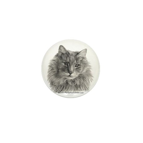 TG, Long-Haired Gray Cat Mini Button (100 pack)
