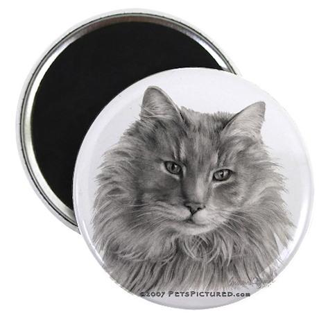 "TG, Long-Haired Gray Cat 2.25"" Magnet (100 pack)"