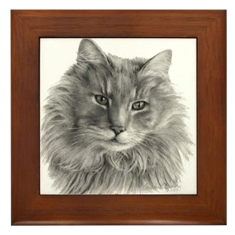 TG, Long-Haired Gray Cat Framed Tile