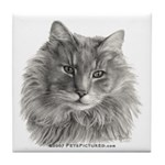 TG, Long-Haired Gray Cat Tile Coaster