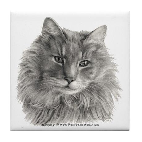 TG, Long-Haired Gray Cat Tile Coaster