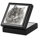TG, Long-Haired Gray Cat Keepsake Box