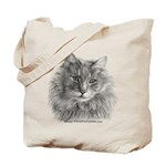 TG, Long-Haired Gray Cat Tote Bag