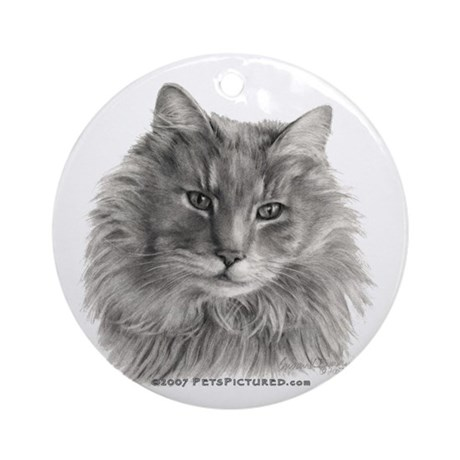 TG, Long-Haired Gray Cat Ornament (Round)