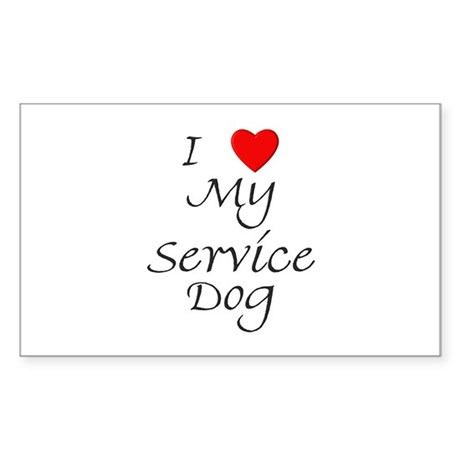 I Love My Service Dog Sticker (Rectangle)