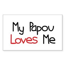 My Papou Loves Me Rectangle Decal
