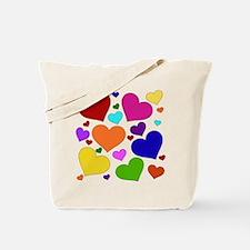Rainbow Hearts Tote Bag