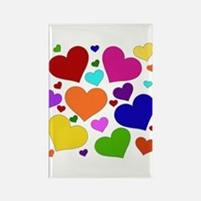 Rainbow Hearts Rectangle Magnet
